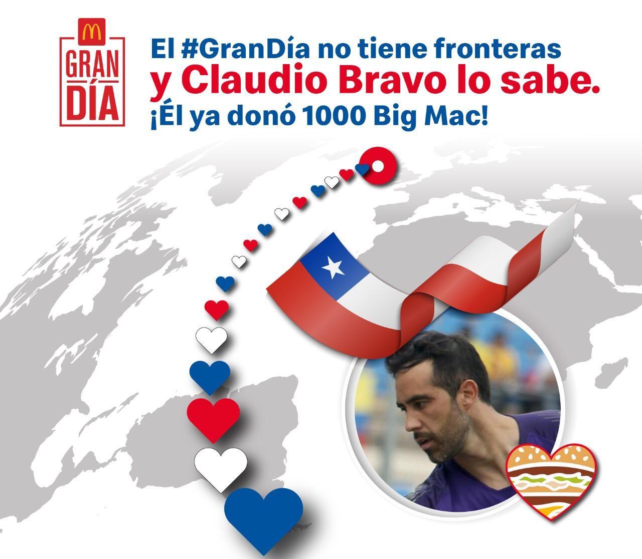 [Chile] Claudio Bravo motiva a los chilenos comprando ¡1000 hamburguesas Big Mac!